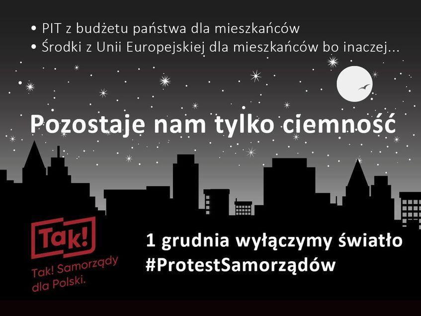 Informacja graficzna na ciemnym tle dotycząca akcji gaszenia świateł 1 grudnia na znak protestu. Centralnie umieszczony napis: Pozostaje nam tylko ciemność.