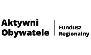 Napis Aktywni Obywatele Fundusz Regionalny zapisane czarnymi literami na białym prostokątnym tle.