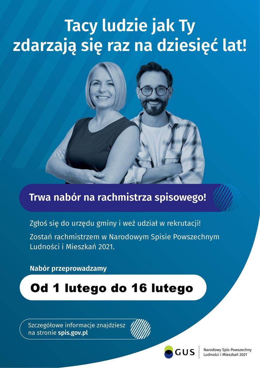 Plakat niebieski prostokąt pionowy z mężczyzną i kobietą stojącymi koło siebie (tyłem do siebie).