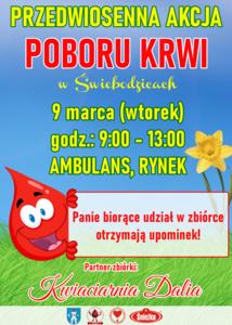 plakat na akcję poboru krwi, 9 marca w kolorach żółto-zielono-czerwono-niebieskich.