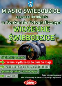 Zielono szary plakat konkursu fotograficznego, pionowy prostokąt.