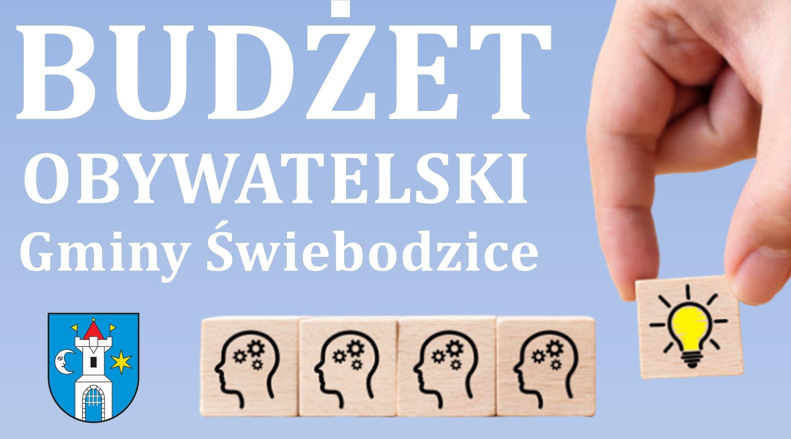 niebieski plakat o teści budżet obywatelski Gminy Świebodzice