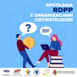 Plakat dotyczący spotkania RDPPP z organizacjami obywatelskimi, niebiesko-biały kwadrat.