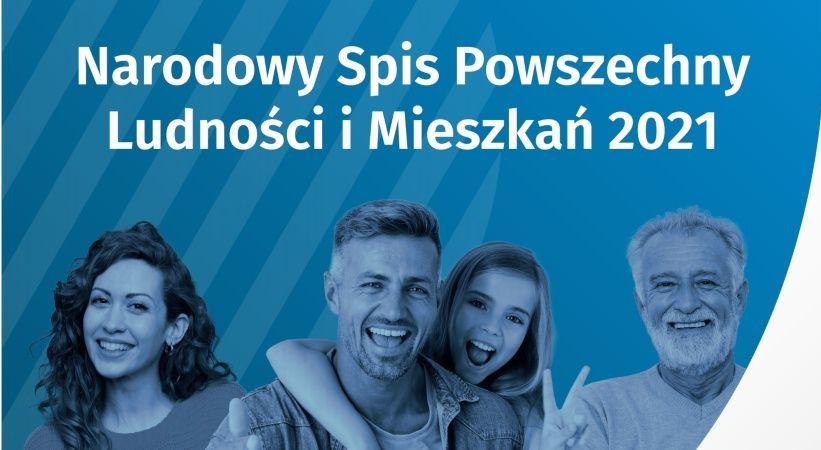 Niebieski prostokąt z białym tekstem i postaciami dwóch mężczyzn i dwóch kobiet w różnym wieku.