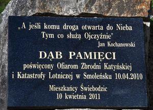 Płyta upamiętniająca Ofiary Zbrodni Katyńskiej i Katastrofy Lotniczej pod Smoleńskiem