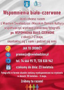 Plakat wydarzenia pionowy biało-czerwony prostokąt  z tekstem w kolorach czerwonym i białym.