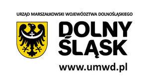 Poziomy prostokąt, biało-czarno-żółte logo Urzędu Marszałkowskiego Województwa Dolnośląskiego