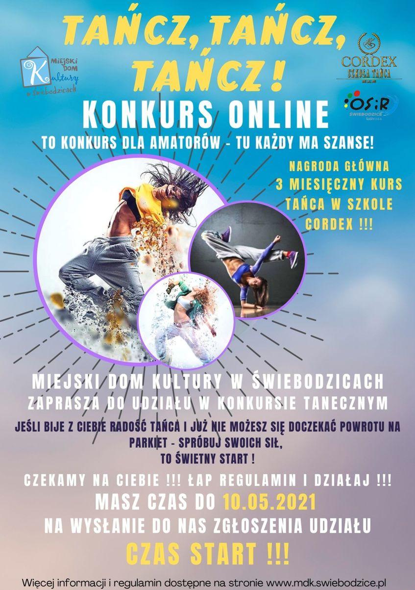 Pionowy prostokąt, plakat konkursu online Tańcz!, Tańcz, Tańcz!
