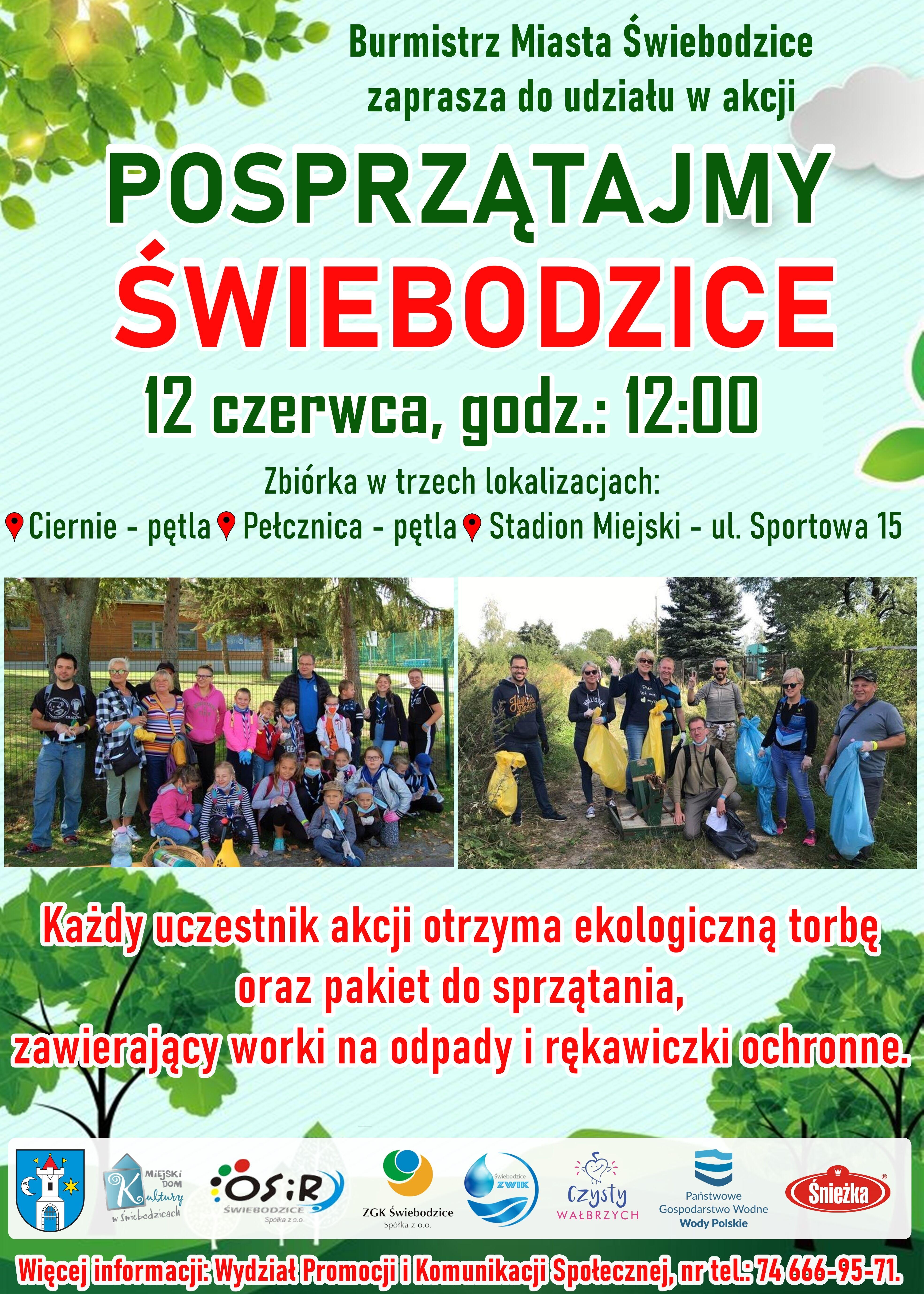 Plakat promujący akcję Posprzątaj Świebodzice