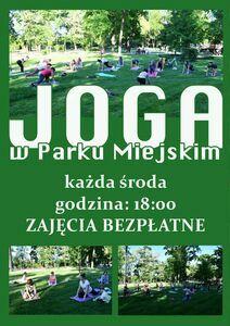 Plakat informacyjny Joga w Parku