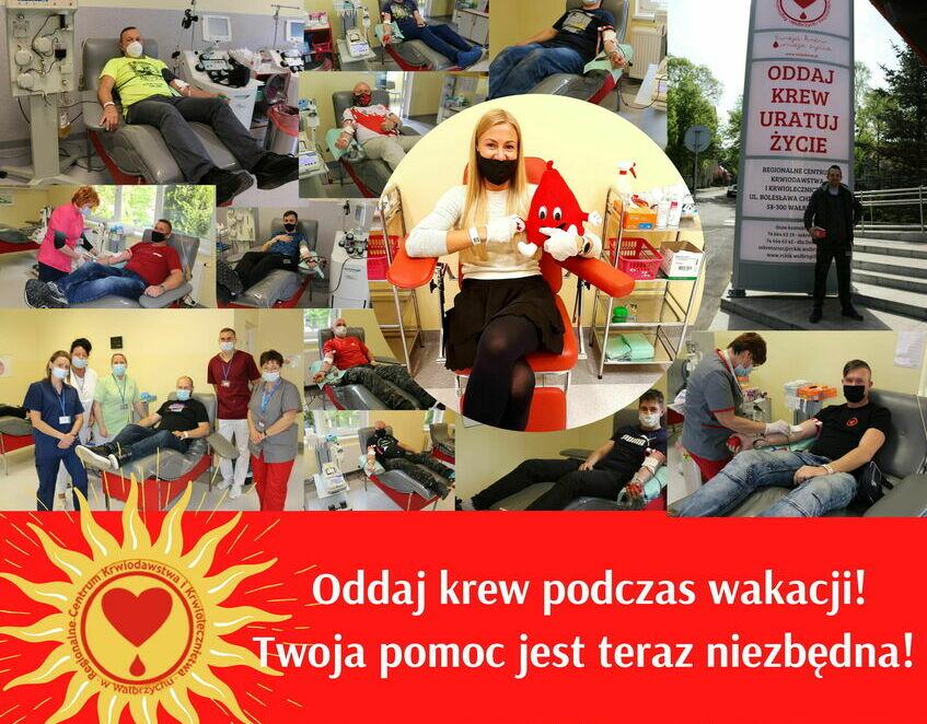 Plakat RCKIK złożony z kolażu zdjęć krwiodawców.