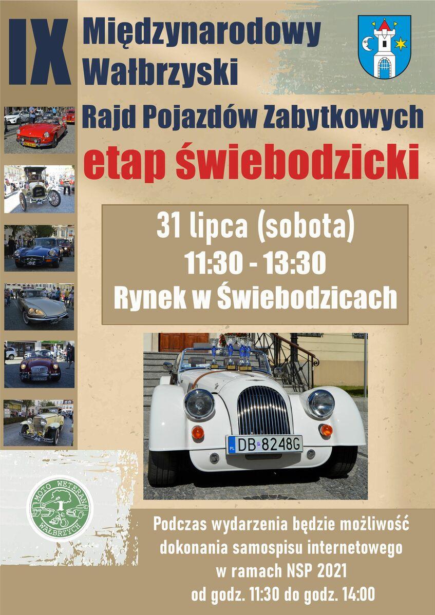Plakat informacyjny Rajdu Pojazdów Zabytkowych