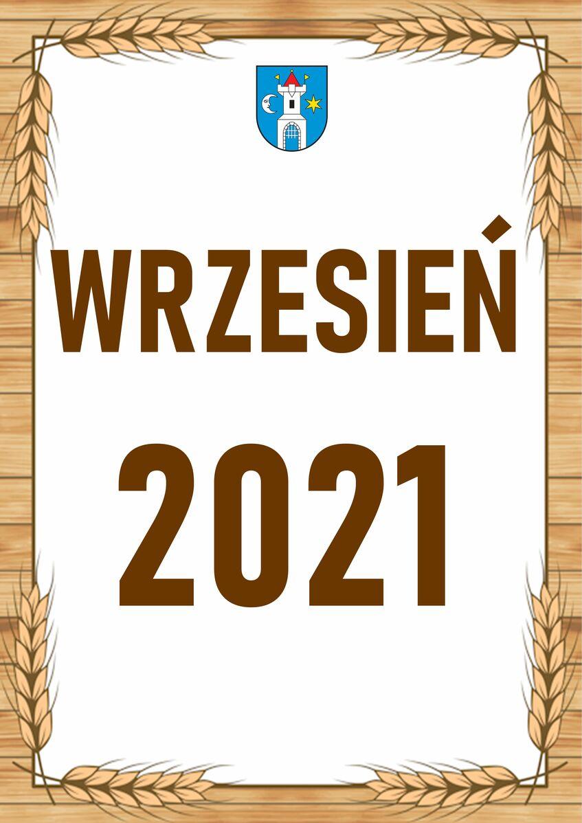 Pionowy prostokąt, złota ramka, na środku brązowy napis Wrzesień 2021.