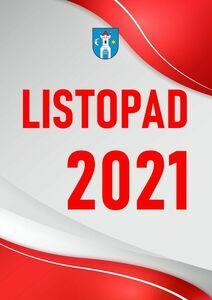 Pionowy prostokąt w biało-czerwonych barwach. Czerwony napis Listopad 2021.