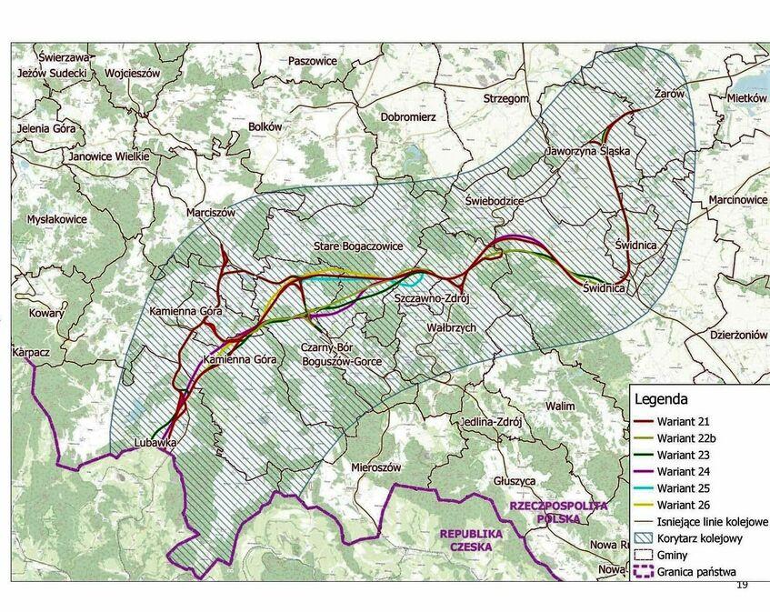 Aktualne warianty przebiegu dla linii kolejowej Żarów - granica Państwa