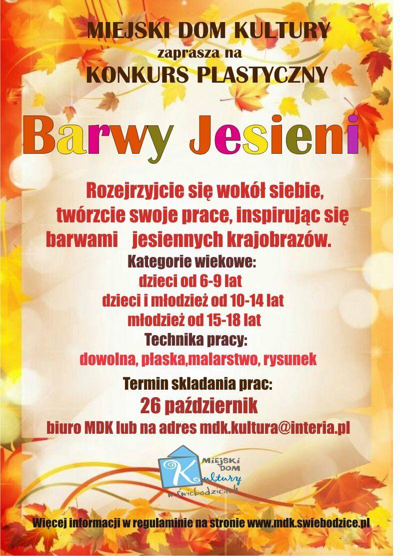 Plakat pionowy w barwach jesieni