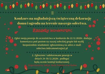 Konkurs na najładniejszą świąteczną dekorację w Imbramowicach