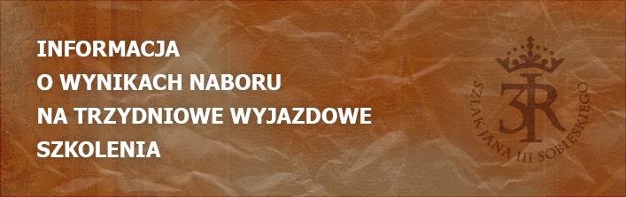 INFORMACJA O WYNIKACH NABORU NA TRZYDNIOWE WYJAZDOWE SZKOLENIA Z DN. 15.09.2014 r.