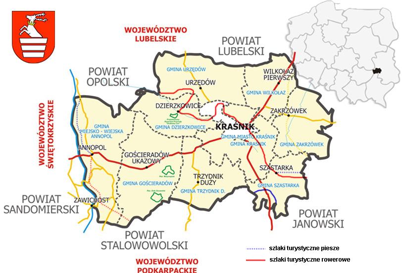 Mapa Powiatu Kraśnickiego