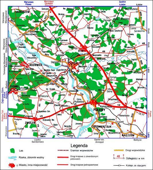 Mapa okolic Dęblina
