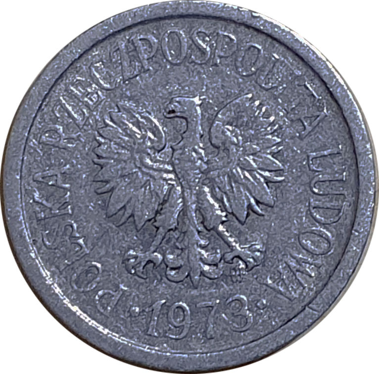 10 groszy z 1973 roku ze znakami mennicy