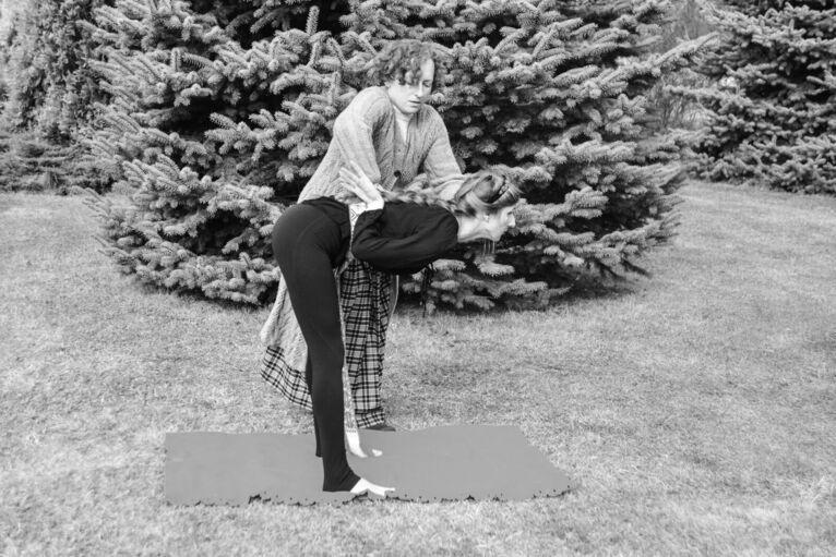 Oksana podczas ćwiczeń.
