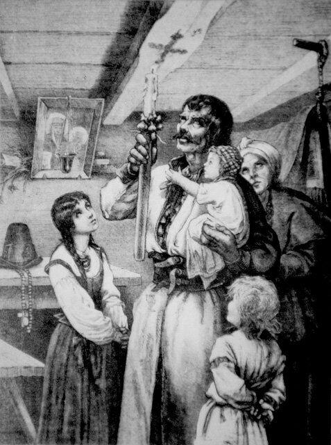 Matka Boska Gromniczna, rysunek Michała Andriollego przedstawiający wypalanie gromnicą znaku krzyża na tragarzu (belce stropowej) chaty w dniu Matki Boskiej Gromnicznej./ domena publiczna