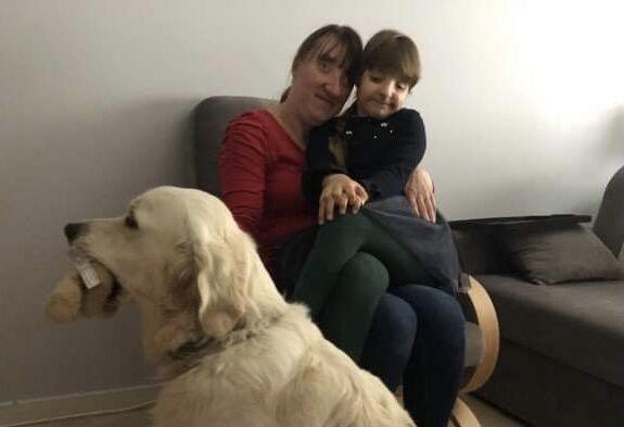 Ewa z Lenką i psem przewodnikiem