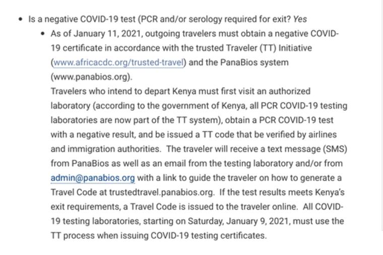 Kenia testy