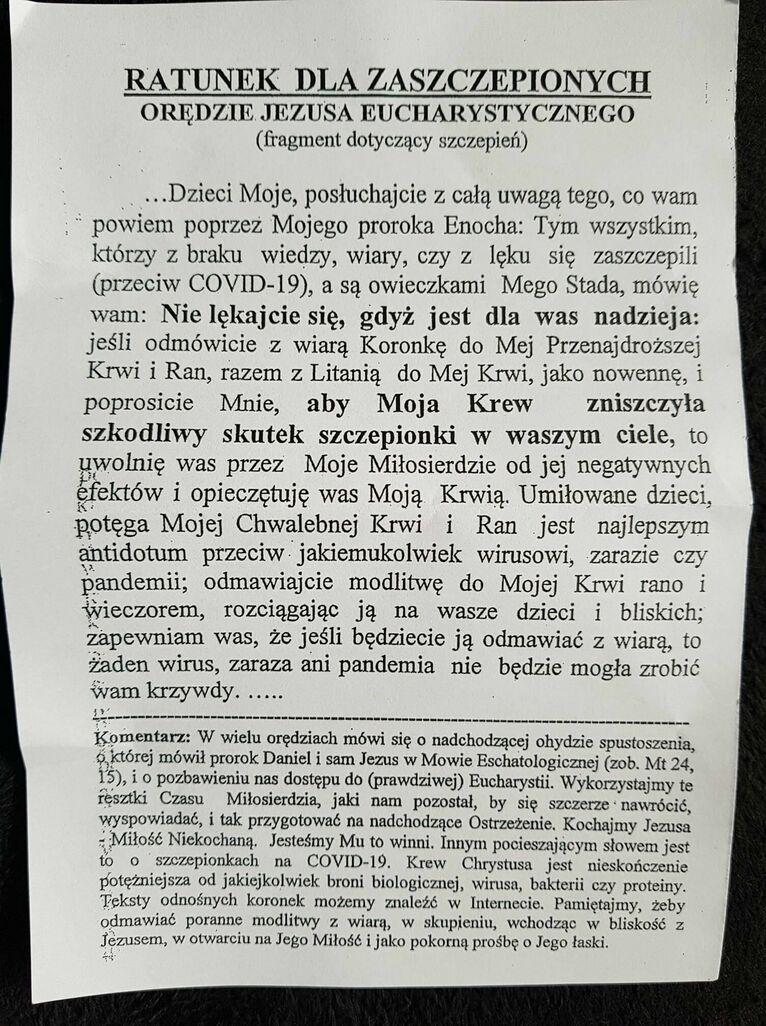 Ulotka trafiająca do skrzynek pocztowych w Lublinie