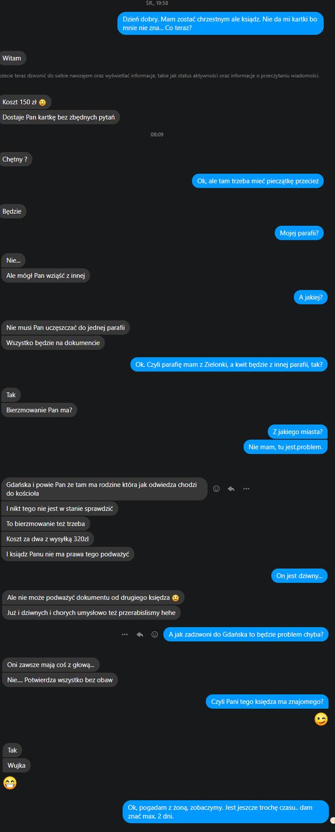 rozmowa ze sprzedającą zaświadczenia