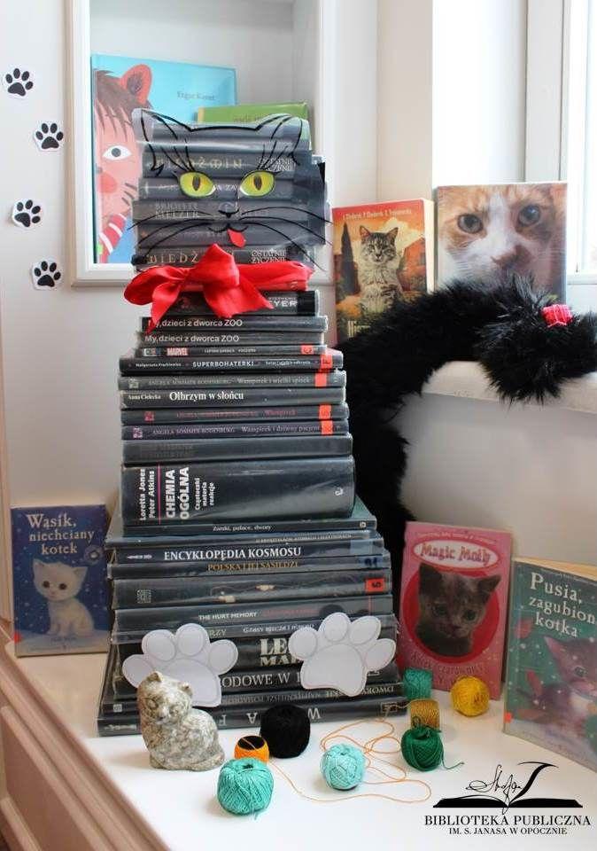 kot ułożony z książek