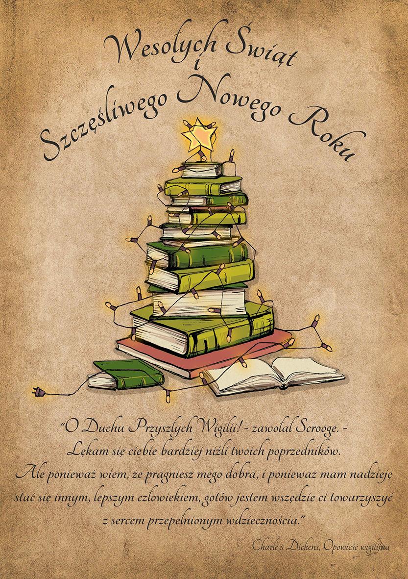 obrazek ze świąteczną choinką ułożoną z książek oraz życzenia świąteczne oraz Bożonarodzeniowe, cytat z książki