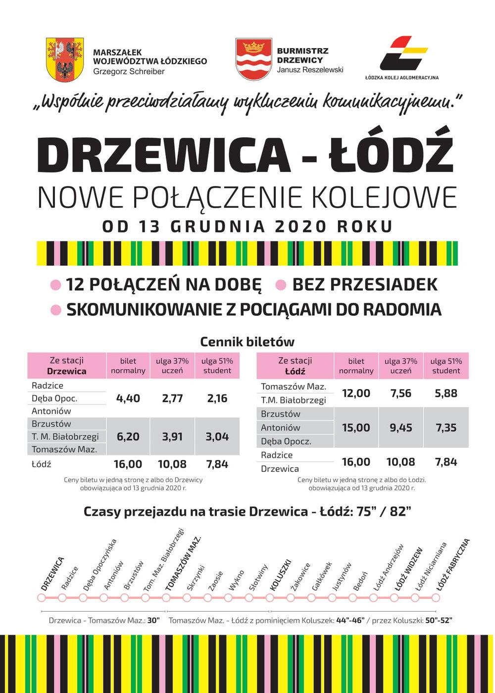 nowe połączenie kolejowe Łódź-Drzewica - ulotka