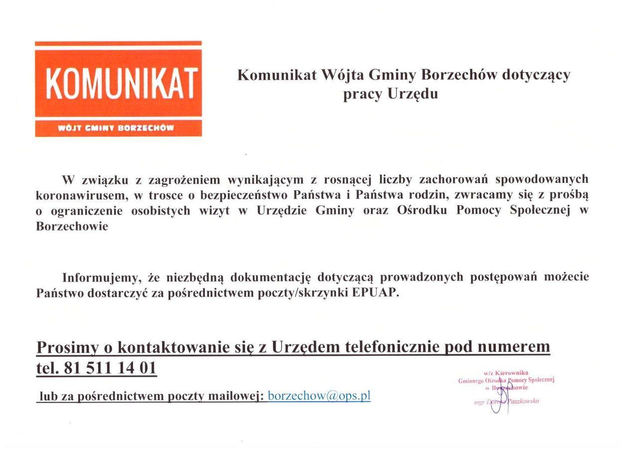Plik jpg - Komunikat Wójta Gminy Borzechów dotyczący pracy Urzędu