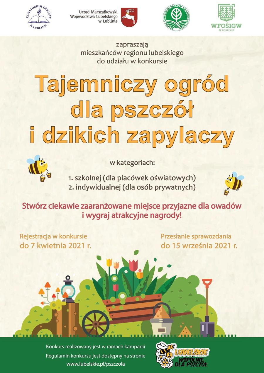Plakat z informacjami: Urząd Marszałkowski Województwa Lubelskiego w Lublinie