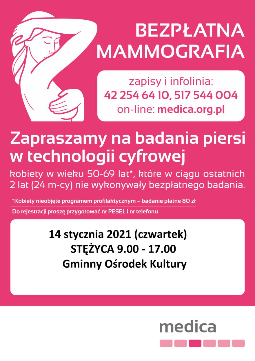 Informacje o bezpłatnym badaniu mammograficznym - 14 stycznia 2012 - czwartek w godzinach od 9.00 do 17.00 przy Gminnym Ośrodku Kultury w Stężycy, ul. Królewska 4