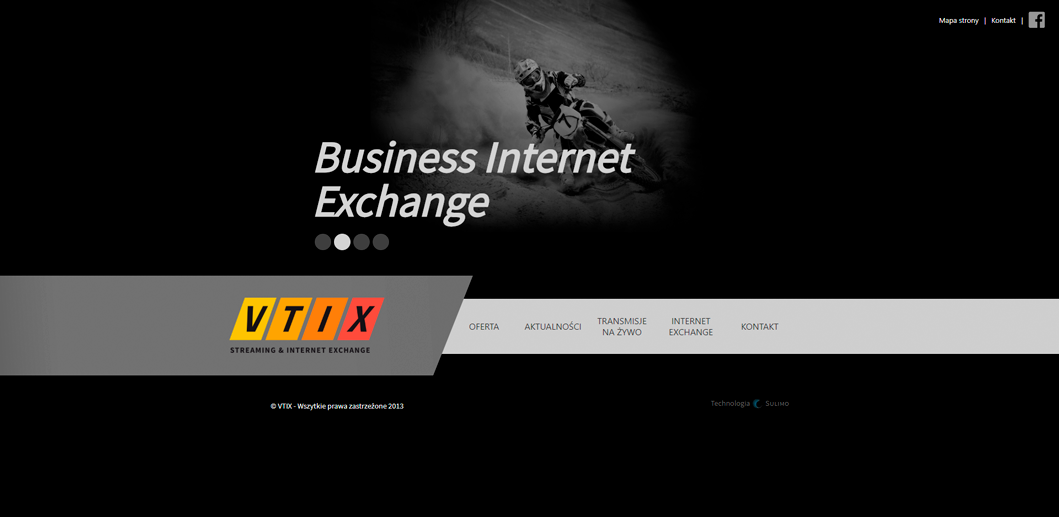 Strona internetowa VTIX Streaming&Internet Exchange