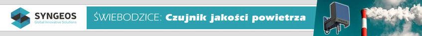 Baner poziomy z logo syngeos oraz napisaem Swiebodzice: Czujnik jakości powietrza
