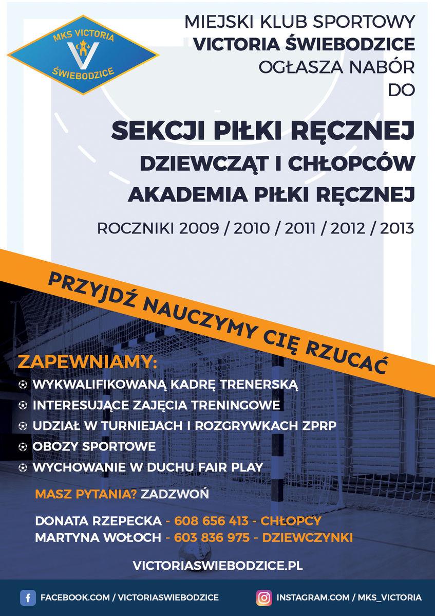 Plakat informujący o naborze do sekcji piłki ręcznej MKS Victoria Świebodzice