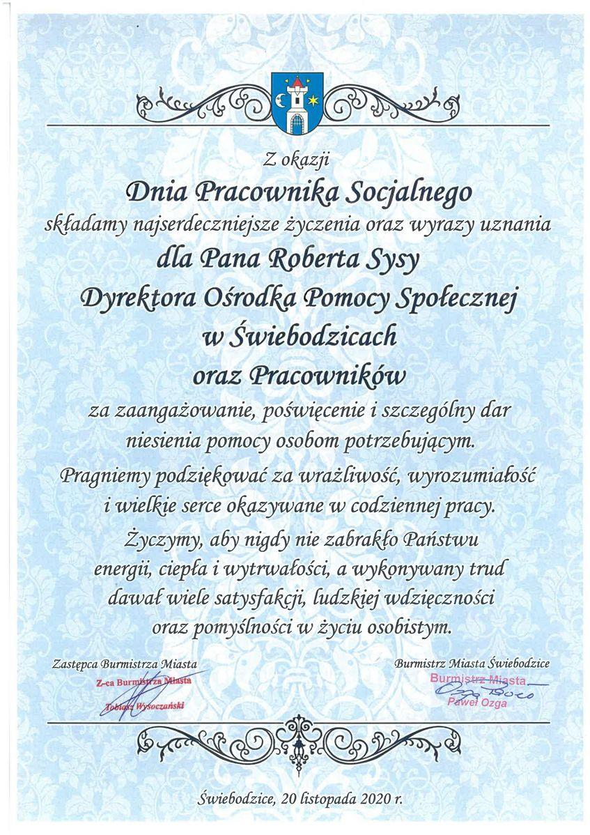 Dyplom dla Roberta Sysy