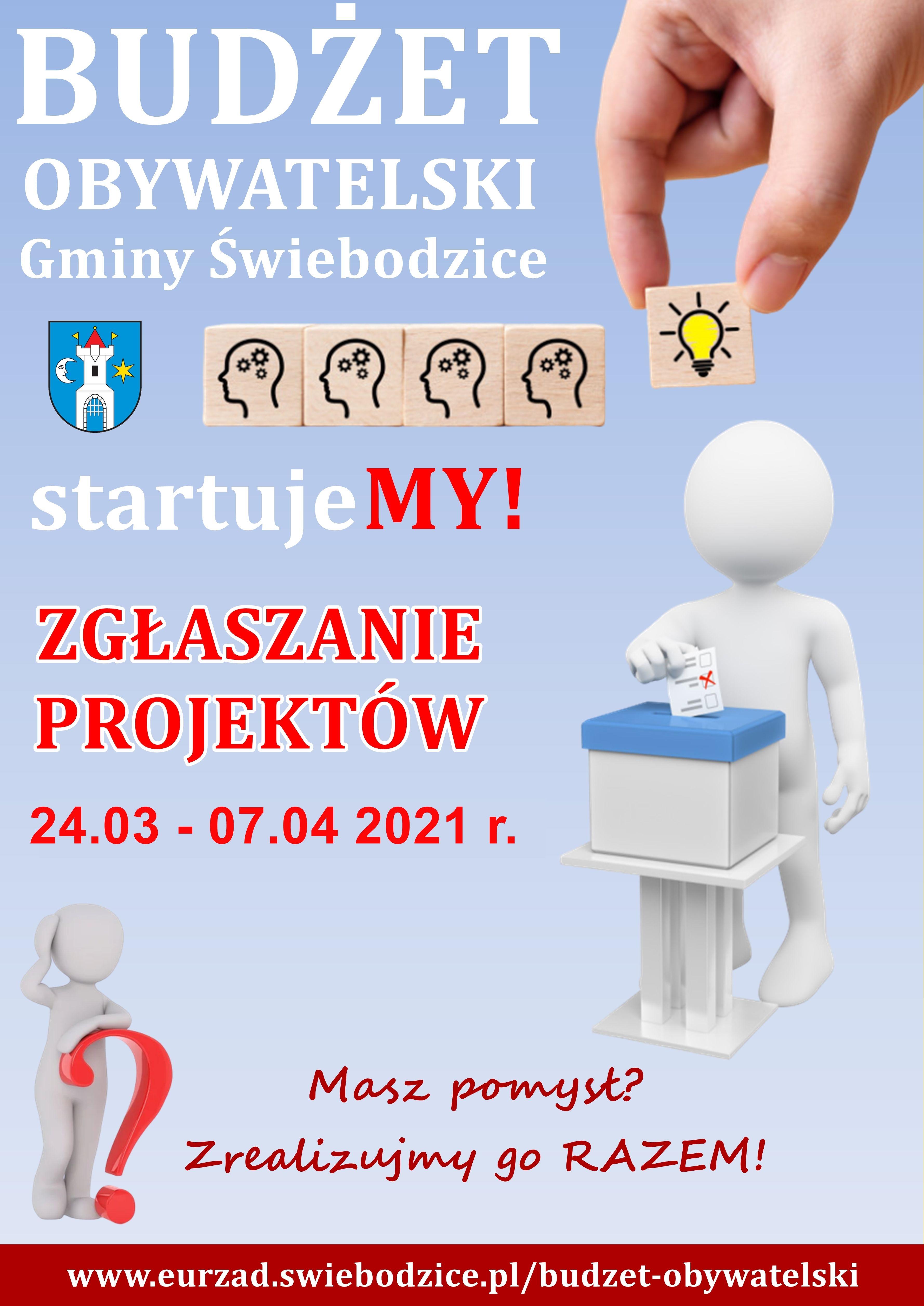 Niebieski plakat o tresci Budzet obywatelski Gminy Swiebodzice