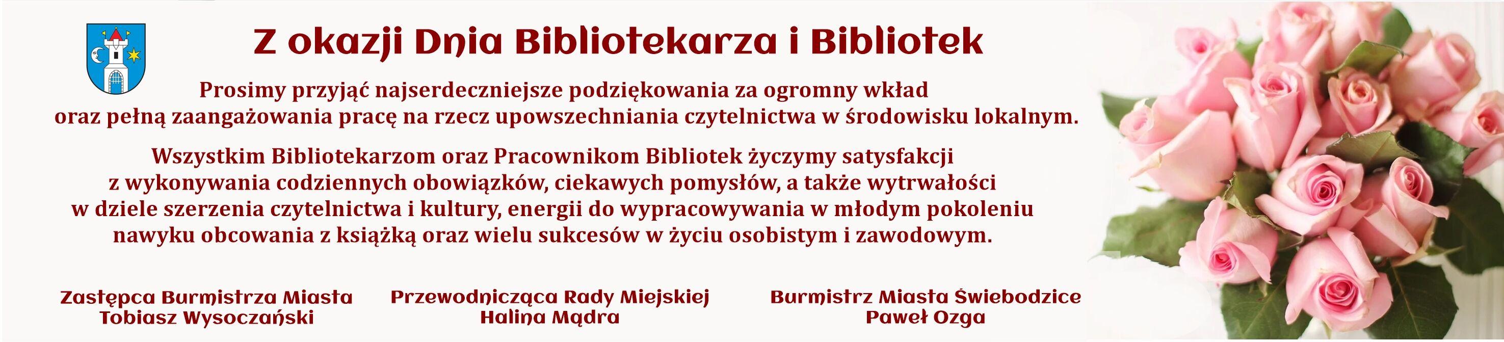 baner poziomy z życzeniami z okazji Dnia Bibliotekarz i Bibliotek