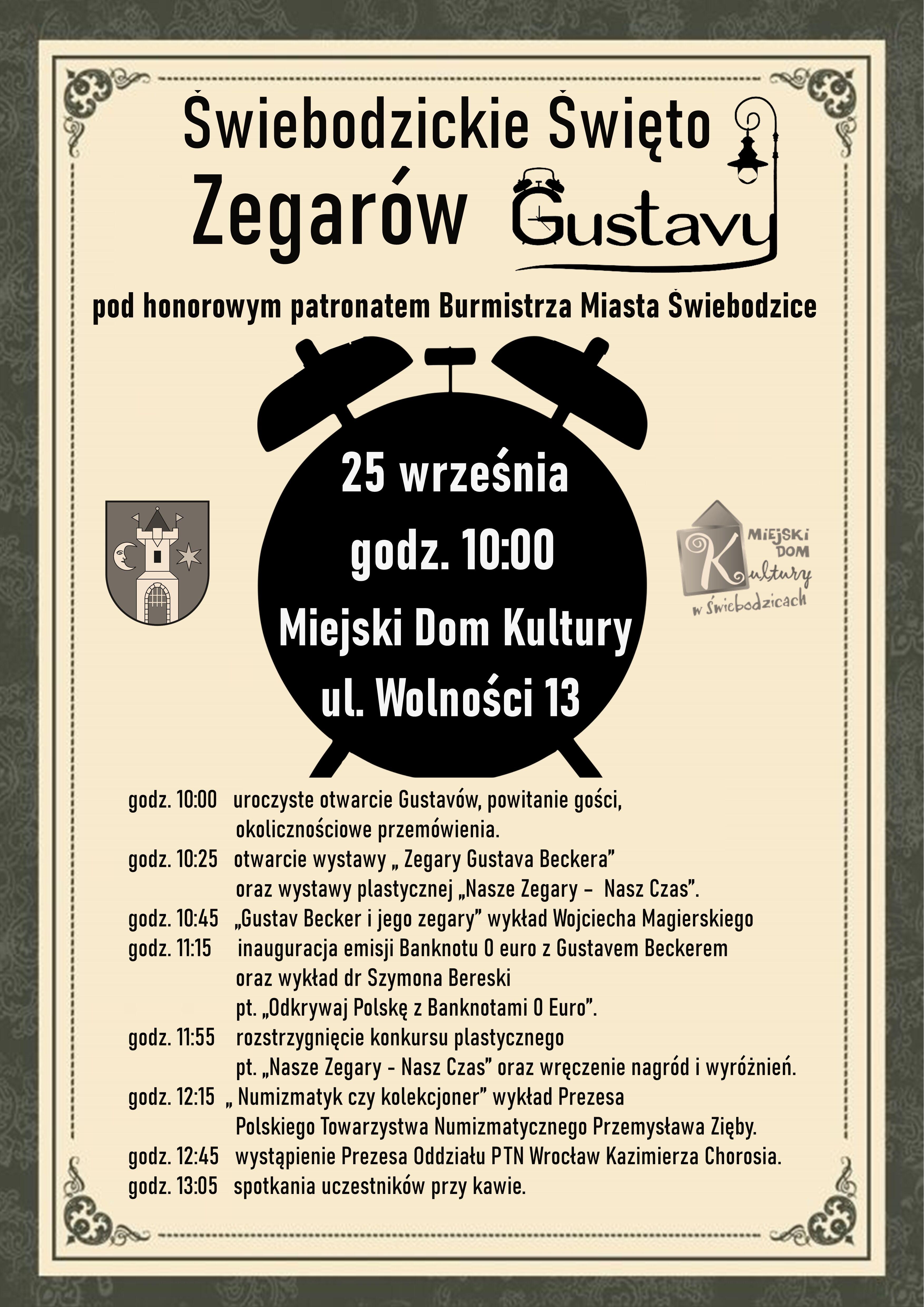 plakat promujący Świebodzickie Święto Zegarów Gustawy