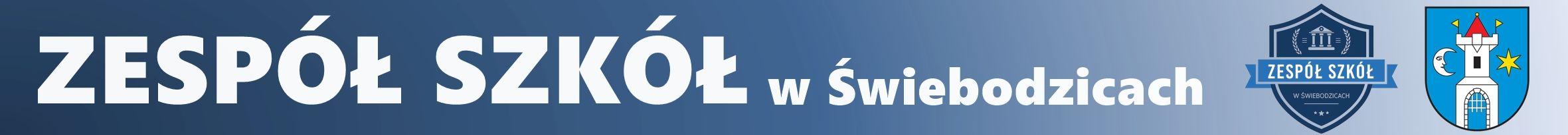 Baner z napisem Zespół Szkół w Świebodzicach z logo