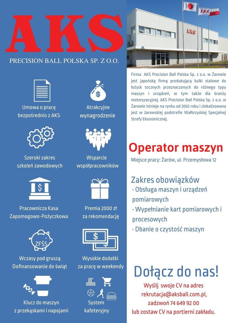 oferta pracy operator maszyn AKS